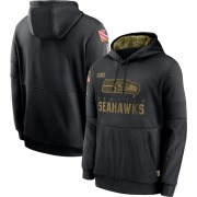 Men's Nike Seattle Seahawks Black 2020 Salute to Service Sideline Performance Pullover Hoodie -