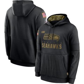 Men's Nike Seattle Seahawks Black 2020 Salute to Service Sideline Performance Pullover Hoodie -