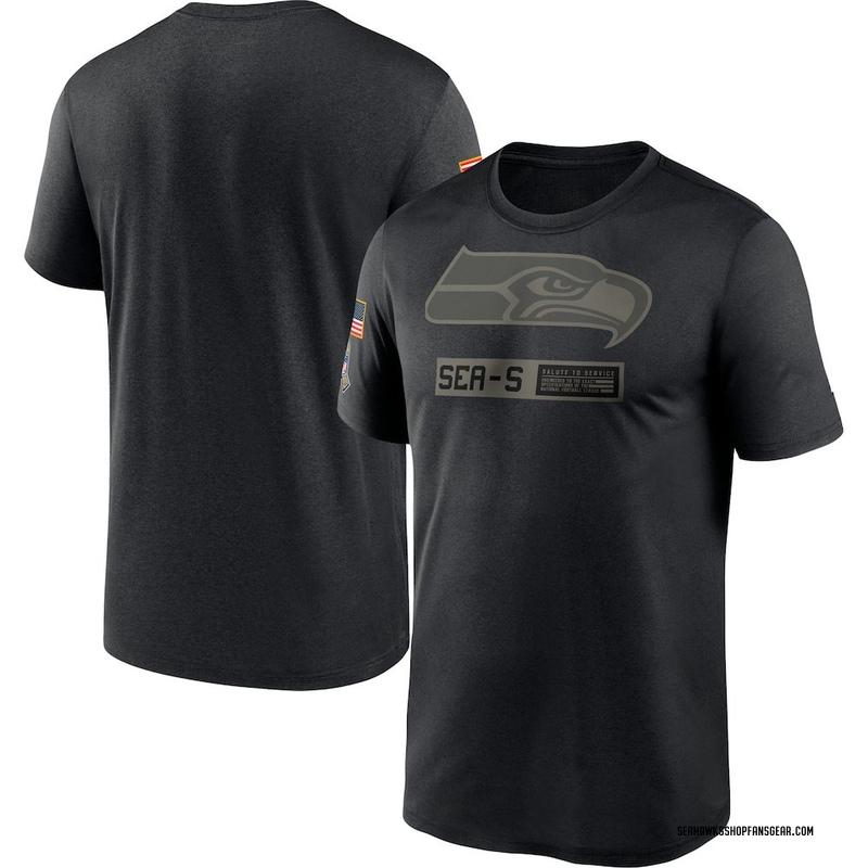 Men's Nike Seattle Seahawks Black 2020 Salute to Service Team Logo Performance T-Shirt -