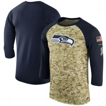 Men's Nike Seattle Seahawks Camo /College Navy Salute to Service 2017 Sideline Performance Three-Quarter Sleeve T-Shirt - Legend