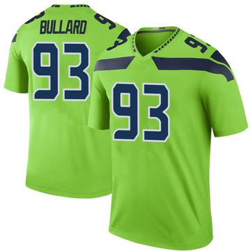 Men's Seattle Seahawks Jonathan Bullard Green Color Rush Neon Jersey - Legend