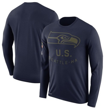Men's Nike Seattle Seahawks Navy 2018 Salute to Service Sideline Performance Long Sleeve T-Shirt - Legend
