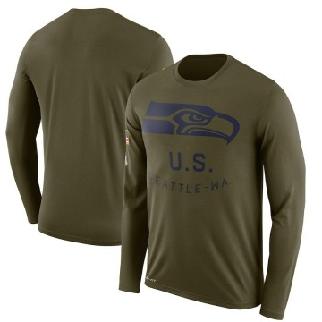 Men's Nike Seattle Seahawks Olive 2018 Salute to Service Sideline Performance Long Sleeve T-Shirt - Legend