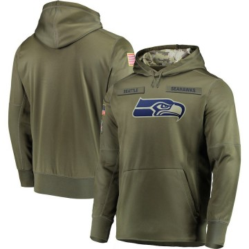 Men's Nike Seattle Seahawks Olive 2018 Salute to Service Sideline Therma Performance Pullover Hoodie -