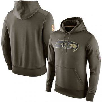 Men's Seattle Seahawks Olive Salute To Service KO Performance Hoodie -