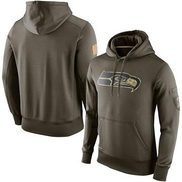 Men's Nike Seattle Seahawks Olive Salute To Service KO Performance Hoodie -