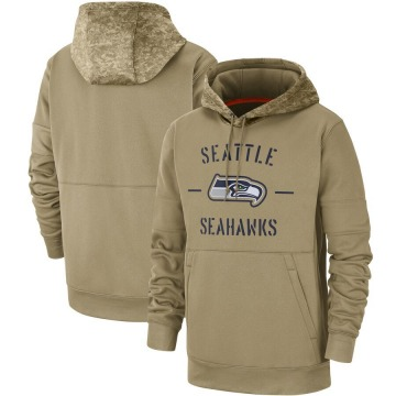 Men's Nike Seattle Seahawks Tan 2019 Salute to Service Sideline Therma Pullover Hoodie -