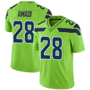 Men's Seattle Seahawks Ugochukwu Amadi Green Color Rush Neon Jersey - Limited
