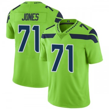 Men's Seattle Seahawks Walter Jones Green Color Rush Neon Jersey - Limited