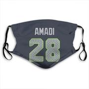 Seattle Seahawks Ugochukwu Amadi Navy Jersey Name & Number Face Mask