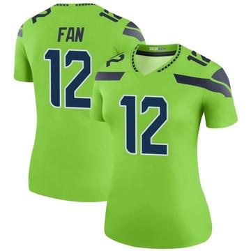 Women's Nike Seattle Seahawks 12th Fan Green Color Rush Neon Jersey - Legend