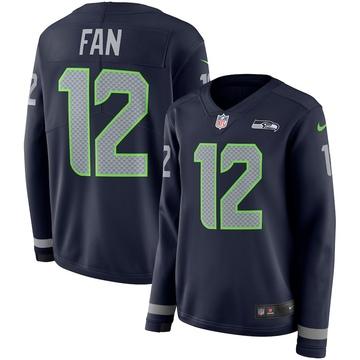 Women's Nike Seattle Seahawks 12th Fan Navy Therma Long Sleeve Jersey -
