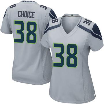 Women's Nike Seattle Seahawks Adam Choice Gray Alternate Jersey - Game