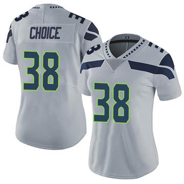 Women's Nike Seattle Seahawks Adam Choice Gray Alternate Vapor Untouchable Jersey - Limited