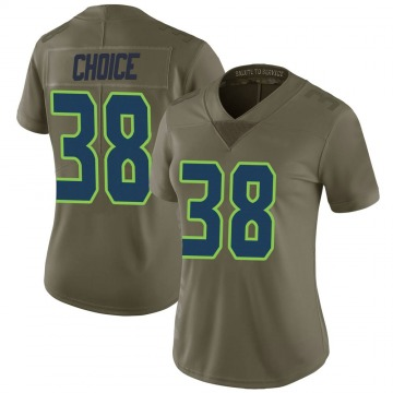 Women's Nike Seattle Seahawks Adam Choice Green 2017 Salute to Service Jersey - Limited