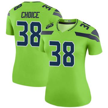 Women's Nike Seattle Seahawks Adam Choice Green Color Rush Neon Jersey - Legend