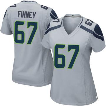 Women's Nike Seattle Seahawks B.J. Finney Gray Alternate Jersey - Game