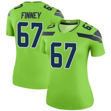 Women's Nike Seattle Seahawks B.J. Finney Green Color Rush Neon Jersey - Legend