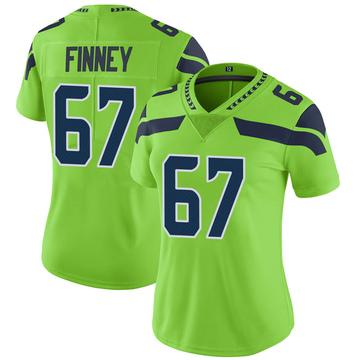 Women's Nike Seattle Seahawks B.J. Finney Green Color Rush Neon Jersey - Limited
