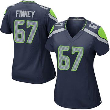 Women's Nike Seattle Seahawks B.J. Finney Navy Team Color Jersey - Game