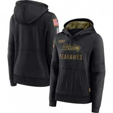 Women's Seattle Seahawks Black 2020 Salute to Service Performance Pullover Hoodie -