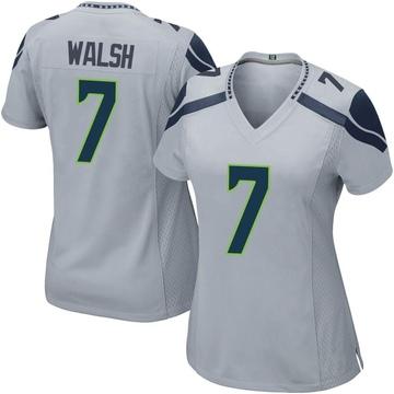 Women's Nike Seattle Seahawks Blair Walsh Gray Alternate Jersey - Game