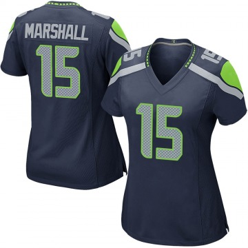 Women's Nike Seattle Seahawks Brandon Marshall Navy Team Color Jersey - Game