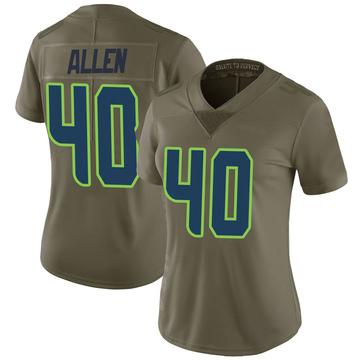 Women's Nike Seattle Seahawks Brian Allen Green 2017 Salute to Service Jersey - Limited