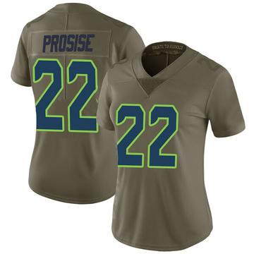 Women's Nike Seattle Seahawks C.J. Prosise Green 2017 Salute to Service Jersey - Limited