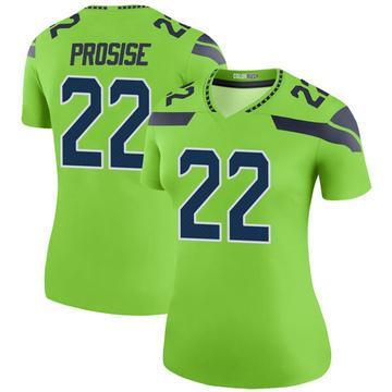 Women's Nike Seattle Seahawks C.J. Prosise Green Color Rush Neon Jersey - Legend