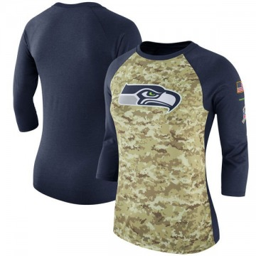 Women's Nike Seattle Seahawks Camo /Navy Salute to Service 2017 Three-Quarter Raglan Sleeve T-Shirt - Legend