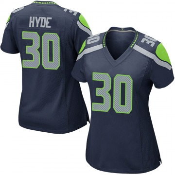 Women's Nike Seattle Seahawks Carlos Hyde Navy Team Color Jersey - Game