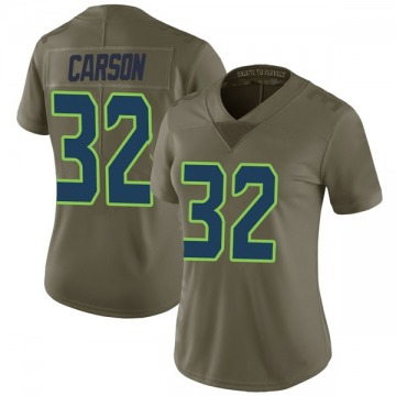 Women's Nike Seattle Seahawks Chris Carson Green 2017 Salute to Service Jersey - Limited