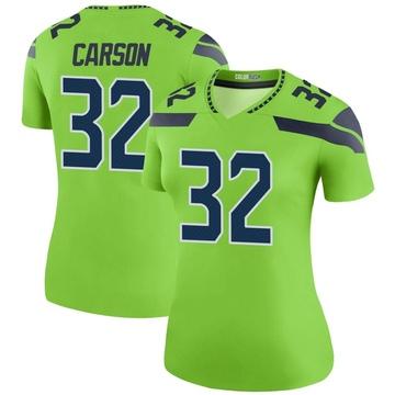 Women's Nike Seattle Seahawks Chris Carson Green Color Rush Neon Jersey - Legend