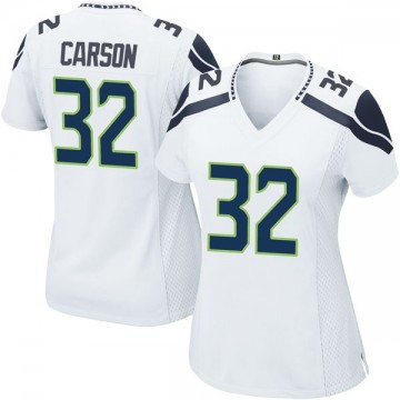 Women's Nike Seattle Seahawks Chris Carson White Jersey - Game