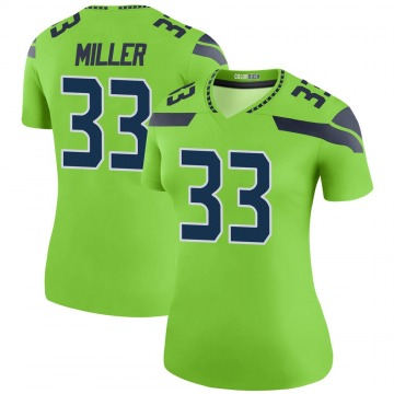 Women's Nike Seattle Seahawks Chris Miller Green Color Rush Neon Jersey - Legend