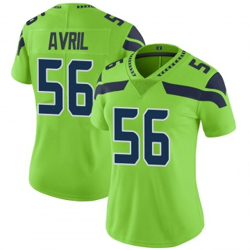 Women's Nike Seattle Seahawks Cliff Avril Green Color Rush Neon Jersey - Limited