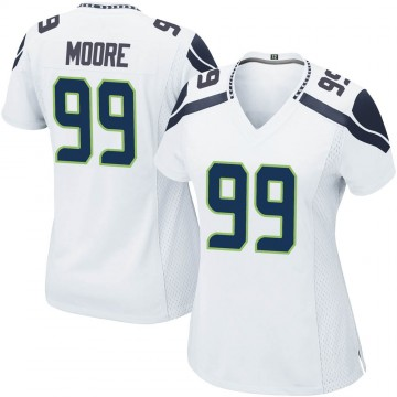 Women's Nike Seattle Seahawks Damontre' Moore White Jersey - Game