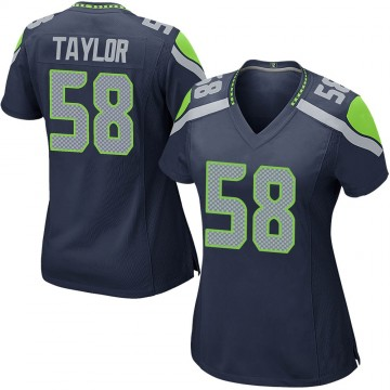 Women's Nike Seattle Seahawks Darrell Taylor Navy Team Color Jersey - Game
