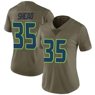 Women's Nike Seattle Seahawks DeShawn Shead Green 2017 Salute to Service Jersey - Limited