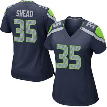 Women's Nike Seattle Seahawks DeShawn Shead Navy Team Color Jersey - Game