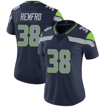 Women's Nike Seattle Seahawks Debione Renfro Navy 100th Vapor Jersey - Limited