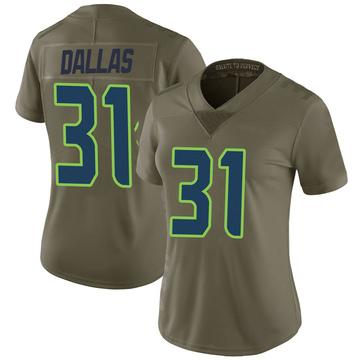Women's Nike Seattle Seahawks DeeJay Dallas Green 2017 Salute to Service Jersey - Limited