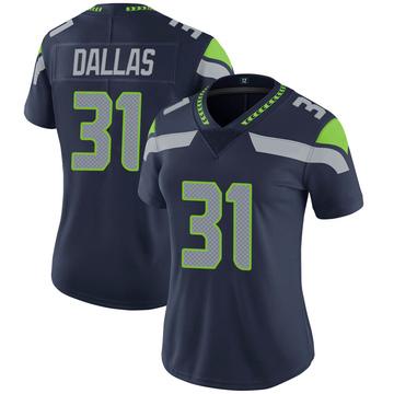 Women's Nike Seattle Seahawks DeeJay Dallas Navy 100th Vapor Jersey - Limited