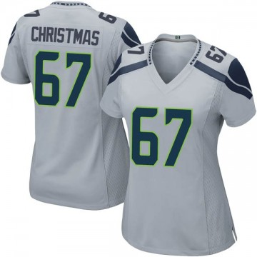 Women's Nike Seattle Seahawks Demarcus Christmas Gray Alternate Jersey - Game