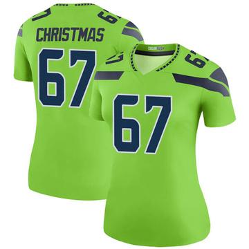 Women's Nike Seattle Seahawks Demarcus Christmas Green Color Rush Neon Jersey - Legend