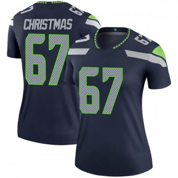 Women's Nike Seattle Seahawks Demarcus Christmas Navy Jersey - Legend