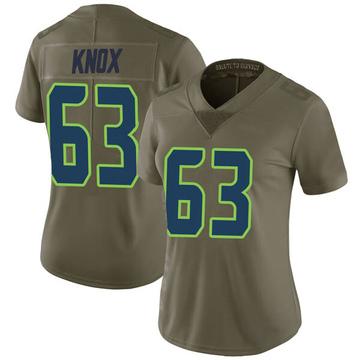 Women's Nike Seattle Seahawks Demetrius Knox Green 2017 Salute to Service Jersey - Limited