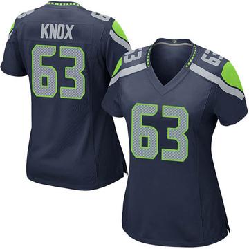 Women's Nike Seattle Seahawks Demetrius Knox Navy Team Color Jersey - Game