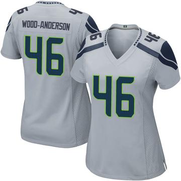 Women's Nike Seattle Seahawks Dominick Wood-Anderson Gray Alternate Jersey - Game